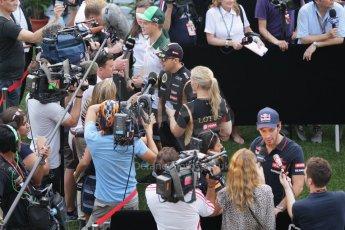 World © Octane Photographic Ltd. Thursday 18th September 2014, Singapore Grand Prix, Marina Bay. - Post Formula 1 Driver's conference enclosure - Marcus Ericsson, Pastor Maldonado and Jean-Eric Vergne. Digital Ref: 1117CB1D6962