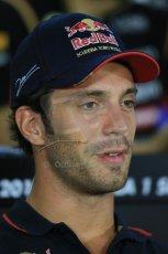 World © Octane Photographic Ltd. Thursday 18th September 2014, Singapore Grand Prix, Marina Bay. - Formula 1 Driver's conference. Scuderia Toro Rosso STR9 - Jean-Eric Vergne. Digital Ref: 1117LB1D8947