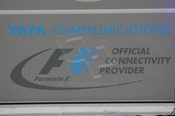World © Octane Photographic Ltd. Thursday 18th September 2014, Singapore Grand Prix, Marina Bay. - Formula 1 Paddock. F1 Communications - Tata logo. Digital Ref: 1116CB1D6761