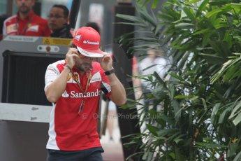World © Octane Photographic Ltd. Thursday 18th September 2014, Singapore Grand Prix, Marina Bay. - Formula 1 Paddock. Scuderia Ferrari - Fernando Alonso. Digital Ref: 1116CB1D6829