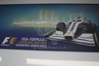 World © Octane Photographic Ltd. Wednesday 17th September 2014, Singapore Grand Prix, Marina Bay. Formula 1 Setup and atmosphere. Advertising hoarding. Digital Ref: 1115CB1D6386