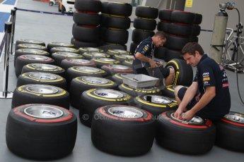 World © Octane Photographic Ltd. Wednesday 17th September 2014, Singapore Grand Prix, Marina Bay. Formula 1 Setup and atmosphere. Infiniti Red Bull Racing wheels with Pirelli tyre options. Digital Ref: 1115CB1D6440