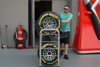 World © Octane Photographic Ltd. Wednesday 17th September 2014, Singapore Grand Prix, Marina Bay. Formula 1 Setup and atmosphere. Mercedes AMG Petronas Pirelli tyres on trolley. Digital Ref: 1115CB1D6449