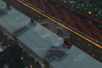 World © Octane Photographic Ltd. Wednesday 17th September 2014, Singapore Grand Prix, Marina Bay. Formula 1 Setup and atmosphere. The Start/Finish straight. Digital Ref: 1115CB6583