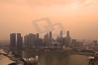 World © Octane Photographic Ltd. Wednesday 17th September 2014, Singapore Grand Prix, Marina Bay. Formula 1 Setup and atmosphere. The Singapore skyline at sunset. Digital Ref: 1115CB6597