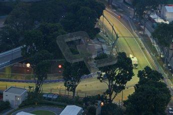 World © Octane Photographic Ltd. Wednesday 17th September 2014, Singapore Grand Prix, Marina Bay. Formula 1 Setup and atmosphere. Turn 5 under lights and 1st DRS activation zone. Digital Ref: 1115CB6648