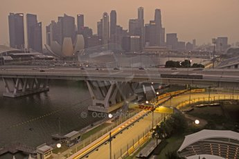 World © Octane Photographic Ltd. Wednesday 17th September 2014, Singapore Grand Prix, Marina Bay. Formula 1 Setup and atmosphere. Final corner (turn 23) under lights. Digital Ref: 1115CB6662