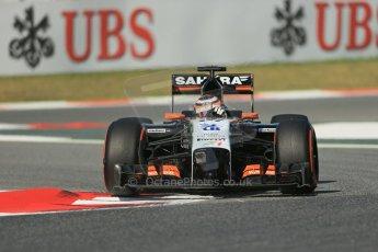World © Octane Photographic Ltd. Friday 9th May 2014. Circuit de Catalunya - Spain - Formula 1 Practice 1 pitlane. Sahara Force India VJM07 – Nico Hulkenburg. Digital Ref :