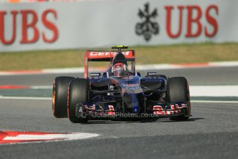 World © Octane Photographic Ltd. Friday 9th May 2014. Circuit de Catalunya - Spain - Formula 1 Practice 1 pitlane. Scuderia Toro Rosso STR 9 – Daniil Kvyat. Digital Ref: