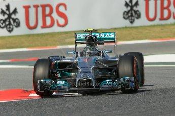 World © Octane Photographic Ltd. Friday 9th May 2014. Circuit de Catalunya - Spain - Formula 1 Practice 1 pitlane. Mercedes AMG Petronas F1 W05 Hybrid - Nico Rosberg. Digital Ref: