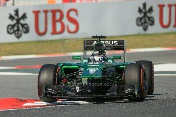 World © Octane Photographic Ltd. Friday 9th May 2014. Circuit de Catalunya - Spain - Formula 1 Practice 1 pitlane. Caterham F1 Team CT05 – Kamui Kobayashi. Digital Ref:
