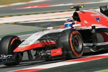 World © Octane Photographic Ltd. Friday 9th May 2014. Circuit de Catalunya - Spain - Formula 1 Practice 1 pitlane. Marussia F1 Team MR03 - Max Chilton. Digital Ref: