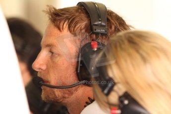 World © Octane Photographic Ltd. Friday 9th May 2014. Circuit de Catalunya - Spain - Formula 1 Practice 2 pitlane. McLaren Mercedes MP4/29 - Jenson Button. Digital Ref: