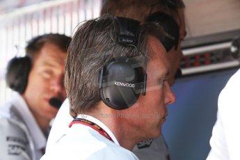 World © Octane Photographic Ltd. Friday 9th May 2014. Circuit de Catalunya - Spain - Formula 1 Practice 2 pitlane. McLaren Mercedes - Sam Michael. Digital Ref: