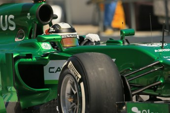 World © Octane Photographic Ltd. Friday 9th May 2014. Circuit de Catalunya - Spain - Formula 1 Practice 2 pitlane. Caterham F1 Team CT05 – Kamui Kobayashi. Digital Ref: