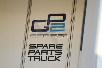 World © Octane Photographic Ltd. Friday 9th May 2014. GP2 Spare Parts Truck. Digital Ref : 0927cb7d8652