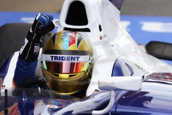 World © Octane Photographic Ltd. Saturday 10th May 2014. GP2 Race 1 Parc Ferme – Circuit de Catalunya, Barcelona, Spain. Johnny Cecotto - Trident (1st). Digital Ref :