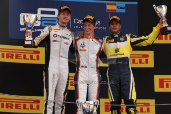 World © Octane Photographic Ltd. Saturday 10th May 2014. GP2 Race 1 Podium – Circuit de Catalunya, Barcelona, Spain. Johnny Cecotto - Trident (1st), Jolyon Palmer - DAMS (2nd) and Felipe Nasr - Carlin (3rd). Digital Ref :