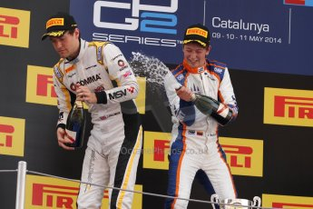 World © Octane Photographic Ltd. Saturday 10th May 2014. GP2 Race 1 Podium – Circuit de Catalunya, Barcelona, Spain. Johnny Cecotto - Trident (1st) and Jolyon Palmer - DAMS (2nd). Digital Ref :