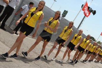 World © Octane Photographic Ltd. Saturday 10th May 2014. GP3 Qualifying – Circuit de Catalunya, Barcelona, Spain. F1/GP2/GP3 Pirelli Grid girls. Digital Ref :