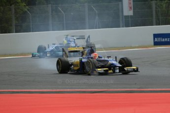 World © Octane Photographic Ltd. Saturday 10th May 2014. GP2 Race 1 – Circuit de Catalunya, Barcelona, Spain. Felipe Nasr and Julian Leal - Carlin. Digital Ref :