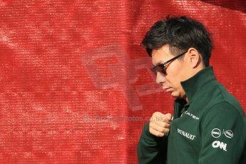 World © Octane Photographic Ltd. Saturday 10th May 2014. Circuit de Catalunya - Spain - Formula 1 Paddock. Caterham F1 Team CT05 – Kamui Kobayashi. Digital Ref: 0933lb1d6430