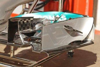 World © Octane Photographic Ltd. Saturday 10th May 2014. Circuit de Catalunya - Spain - Formula 1 Practice 3. Mercedes AMG Petronas F1 W05 Hybrid - Front wing details. Digital Ref: 0935cb7d9592