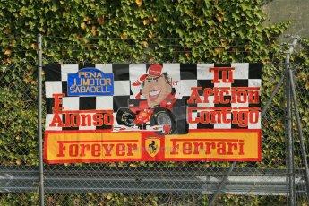 World © Octane Photographic Ltd. Saturday 10th May 2014. Circuit de Catalunya - Spain - Formula 1 Practice 3. Scuderia Ferrari F14T - Fernando Alonso fan banner. Digital Ref: 0935lb1d7086