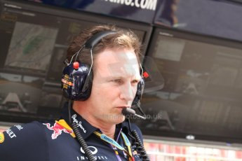 orld © Octane Photographic Ltd. Saturday 10th May 2014. Circuit de Catalunya - Spain - Formula 1 Qualifying. Infiniti Red Bull Racing RB10 - Christian Horner on the pit wall. Digital Ref: 0936cb7d0025