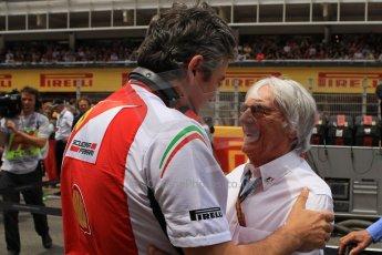 World © Octane Photographic Ltd. Sunday 11th May 2014. Circuit de Catalunya - Spain - Formula 1 Grid. Bernie Ecclestone and Scuderia Ferrari team boss Marco Mattiacci . Digital Ref: