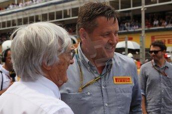 World © Octane Photographic Ltd. Sunday 11th May 2014. Circuit de Catalunya - Spain - Formula 1 Grid. Bernie Ecclestone and Pirelli - Paul Hembery. Digital Ref: