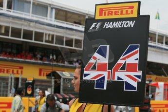 World © Octane Photographic Ltd. Sunday 11th May 2014. Circuit de Catalunya - Spain - Formula 1 Grid. Mercedes AMG Petronas F1 W05 Hybrid – Lewis Hamilton. Digital Ref: