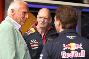 World © Octane Photographic Ltd. Sunday 11th May 2014. Circuit de Catalunya - Spain - Formula 1 Pitlane. Infiniti Red Bull Racing - Christian Horner, Adrian Newey and Dieter Mateschitz. Digital Ref: