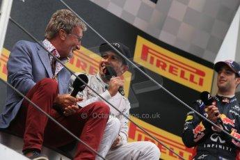 World © Octane Photographic Ltd. Thursday 8th May 2014. Circuit de Catalunya - Spain - Formula 1 Podium. Mercedes AMG Petronas F1 W05 Hybrid – Lewis Hamilton (1st) and Eddie Jordan. Digital Ref: