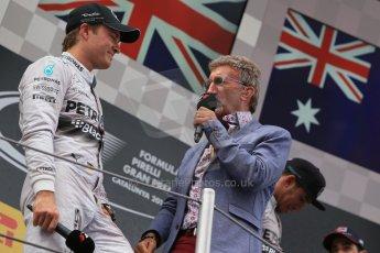 World © Octane Photographic Ltd. Thursday 8th May 2014. Circuit de Catalunya - Spain - Formula 1 Podium. Mercedes AMG Petronas F1 W05 Hybrid – Nico Rosberg (2nd) and Eddie Jordan. Digital Ref: