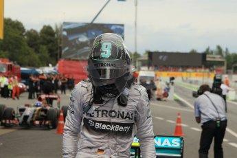 World © Octane Photographic Ltd. Thursday 8th May 2014. Circuit de Catalunya - Spain - Formula 1 Parc Ferme. Mercedes AMG Petronas F1 W05 Hybrid - Nico Rosberg (2nd) . Digital Ref: