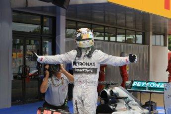 World © Octane Photographic Ltd. Thursday 8th May 2014. Circuit de Catalunya - Spain - Formula 1 Parc Ferme. Mercedes AMG Petronas F1 W05 Hybrid – Lewis Hamilton (1st). Digital Ref: