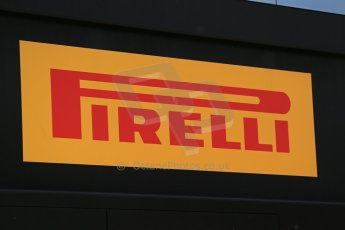 World © Octane Photographic Ltd. Thursday 8th May 2014. Circuit de Catalunya - Spain - Formula 1 Paddock. Pirelli logo. Digital Ref: 0922lb1d2768