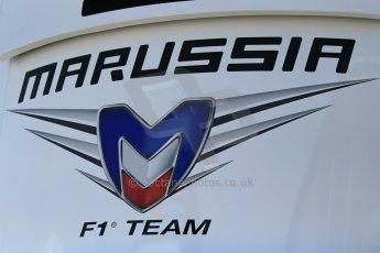 World © Octane Photographic Ltd. Thursday 8th May 2014. Circuit de Catalunya - Spain - Formula 1 Paddock. Marussia F1 logo. Digital Ref: 0922lb1d2832