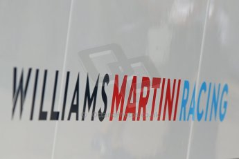 World © Octane Photographic Ltd. Thursday 8th May 2014. Circuit de Catalunya - Spain - Formula 1 Paddock. Williams Martini Racing logo. Digital Ref: 0922lb1d2836