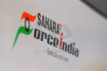 World © Octane Photographic Ltd. Thursday 8th May 2014. Circuit de Catalunya - Spain - Formula 1 Paddock. Sahara Force India logo. Digital Ref : 0922lb1d2861