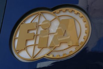 World © Octane Photographic Ltd. Thursday 8th May 2014. Circuit de Catalunya - Spain - Formula 1 Paddock. FIA logo. Digital Ref: 0922lb1d2865
