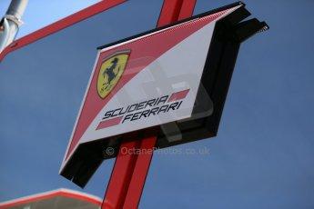 World © Octane Photographic Ltd. Thursday 8th May 2014. Circuit de Catalunya - Spain - Formula 1 Paddock. Scuderia Ferrari logo on the paddock engineering base. Digital Ref: 0922lb1d2869
