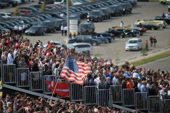 World © Octane Photographic Ltd. Sunday 2nd November 2014, F1 USA GP, Austin, Texas, Circuit of the Americas (COTA) - Paddock & Atmosphere. American flag being flown by fan. Digital Ref: 1150LB1D1020