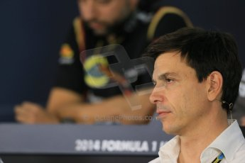 World © Octane Photographic Ltd. Friday 31st October 2014, F1 USA GP, Austin, Texas, Circuit of the Americas (COTA) - FIA Press Conference. Mercedes AMG Petronas Executive Director  – Toto Wolff. Digital Ref: 1146LB1D9335