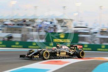 World © Octane Photographic Ltd. Lotus F1 Team E23 Hybrid – Pastor Maldonado. Friday 27th November 2015, F1 Abu Dhabi Grand Prix, Practice 2, Yas Marina. Digital Ref: 1478CB1L5770
