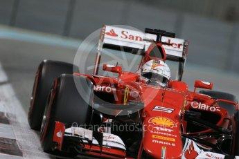 World © Octane Photographic Ltd. Scuderia Ferrari SF15-T– Sebastian Vettel. Friday 27th November 2015, F1 Abu Dhabi Grand Prix, Practice 2, Yas Marina. Digital Ref: 1478LB1D7777