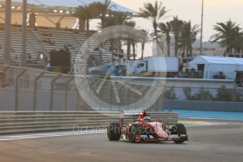 World © Octane Photographic Ltd. Scuderia Ferrari SF15-T– Kimi Raikkonen. Friday 27th November 2015, F1 Abu Dhabi Grand Prix, Practice 2, Yas Marina. Digital Ref: 1478LB5D4033