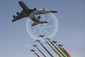 "World © Octane Photographic Ltd. Etihad Airbus A380 and Al Fursan ""The Knights"" aerobatic team in their Aermacchi MB 339A. Digital Ref :"