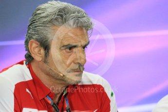 World © Octane Photographic Ltd.. Friday 27th November 2015, F1 Abu Dhabi Grand Prix, Team Personnel FIA Press Conference, Yas Marina. Maurizio Arrivabene – Scuderia Ferrari Team Principal. Digital Ref: 1480LB1D8041